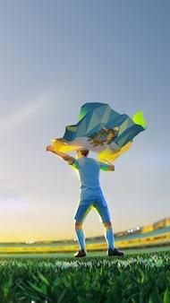 Voetbalspeler na winnaarspelkampioenschap houdt vlag van san marino vast. veelhoekstijl