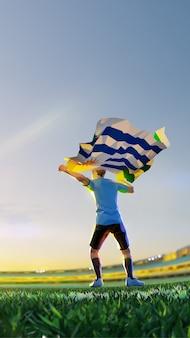 Voetbalspeler na winnaarspelkampioenschap houdt vlag van uruguay vast. veelhoekstijl