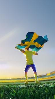 Voetbalspeler na winnaarspelkampioenschap houdt vlag van zweden vast. veelhoekstijl
