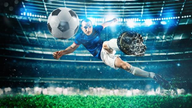 Voetbalspeler raakt de bal met een acrobatische trap in de lucht in het stadion