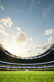 Voetbalstadion defocus achtergrond avond arena met menigte fans d illustratie