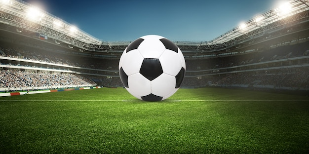 Voetbalstadion, glanzende lichten, uitzicht vanaf het veld. voetbal concept