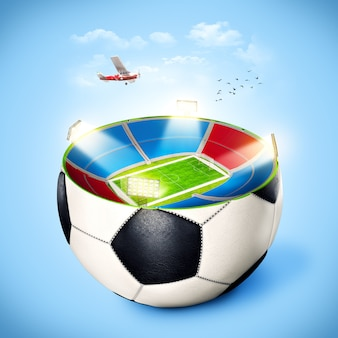 Voetbalstadion in een bal