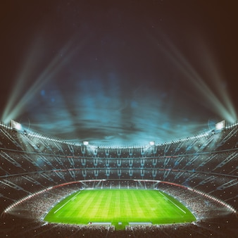 Voetbalstadion met de tribunes vol fans die wachten op de avondwedstrijd