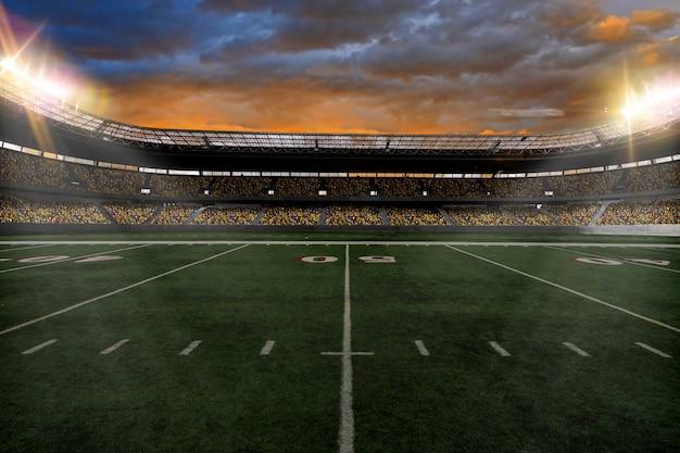Voetbalstadion met fans die gele uniformen dragen