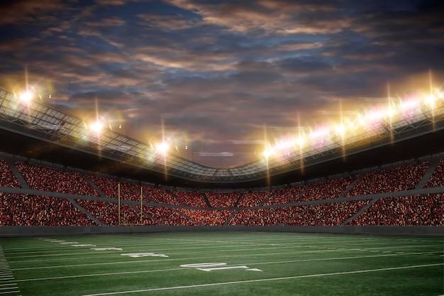 Voetbalstadion met fans die rode uniformen dragen