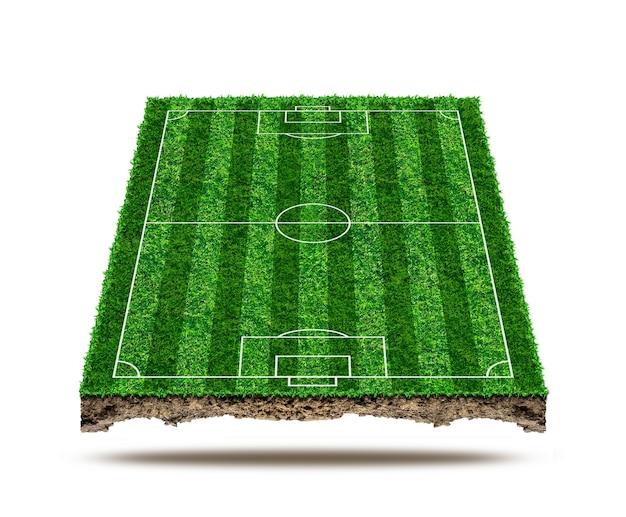 Voetbalveld gebied en isoleren op de achtergrond. groen gras van voetbalveld