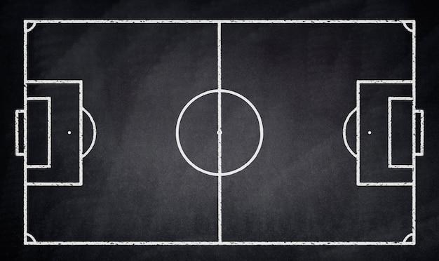 Voetbalveld getekend op een schoolbord