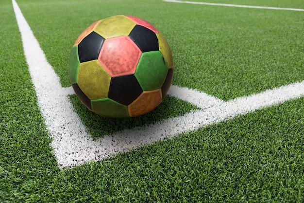 Voetbalveld hoek groen gras, hoek van voetbalveld, voetbalveld gras conner
