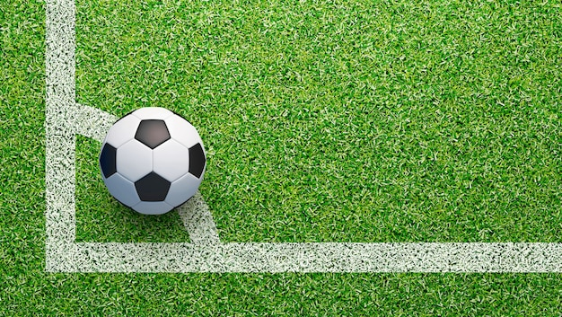Voetbalveld met voetbal en lijn, 3d-rendering illustratie