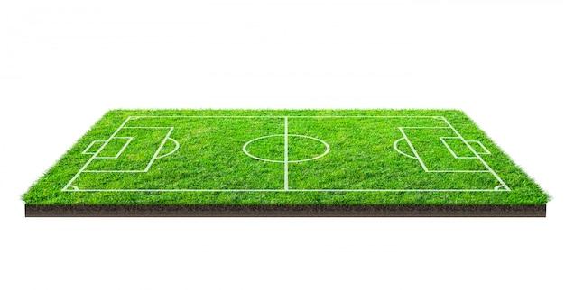 Voetbalveld of voetbalveld op groen gras