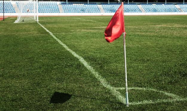 Voetbalveld vanuit een hoekaanzicht