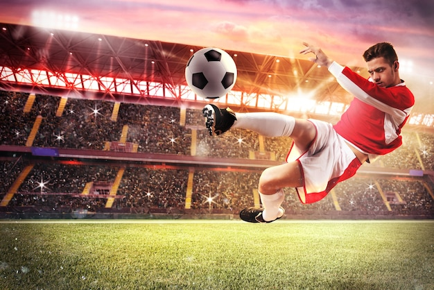 Voetbalwedstrijd in het stadion