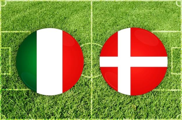 Voetbalwedstrijd italië vs denemarken