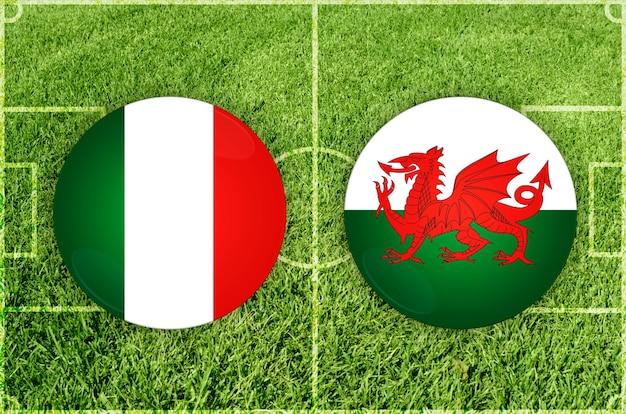 Voetbalwedstrijd italië vs wales