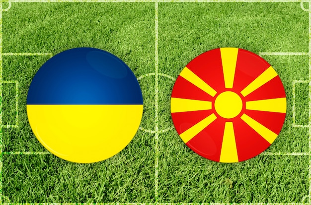 Voetbalwedstrijd oekraïne vs noord-macedonië