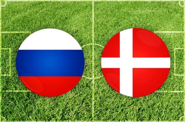 Voetbalwedstrijd rusland vs denemarken