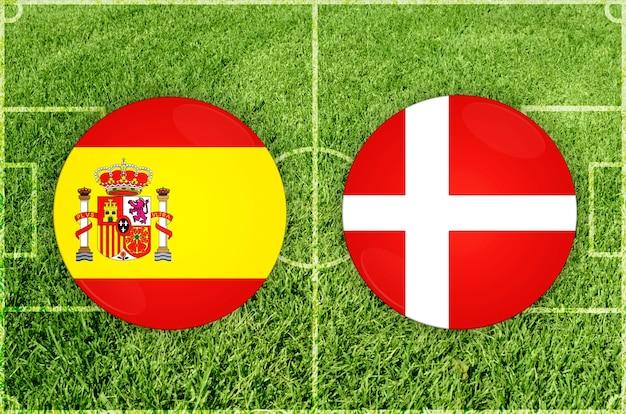 Voetbalwedstrijd spanje vs denemarken