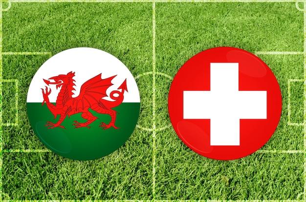 Voetbalwedstrijd wales vs. zwitserland