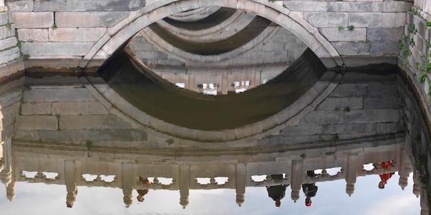 Voetgangersbrug over inner golden river in de verboden stad, peking, china