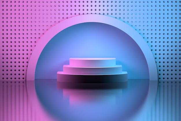 Voetstuk in een cirkelvormige nis over spiegeloppervlak