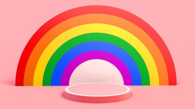 Voetstuk met regenboogachtergrond voor de viering van de trotsdag. 3d illustratie.
