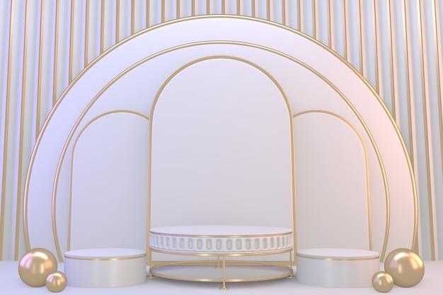 Voetstuk moderne witte podium lege ruimte voor cosmetisch product. 3d-weergave