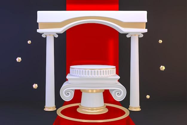 Voetstuk moderne witte podium lege ruimte voor cosmetisch product op zwarte achtergrond. 3d-weergave