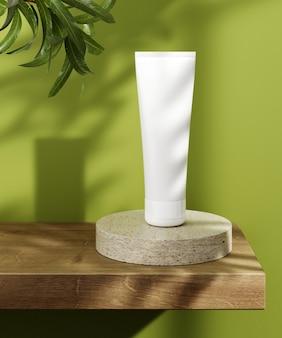 Voetstuk voor presentatie van natuurlijke cosmetische producten. stenen en houten cilinders met plantenbladeren. 3d illustratie.
