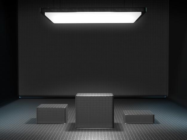 Voetstuk voor weergave in een lege ruimte met een licht van bovenaf