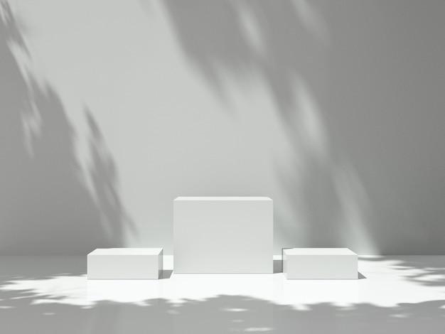 Voetstuk voor weergave met boomschaduw op de muur