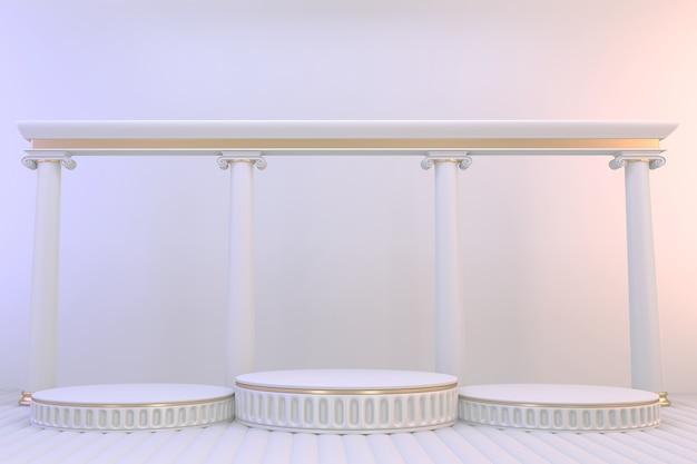 Voetstuk witte podium lege ruimte voor cosmetisch product. 3d-weergave