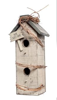 Vogelhuisje, geïsoleerd op wit