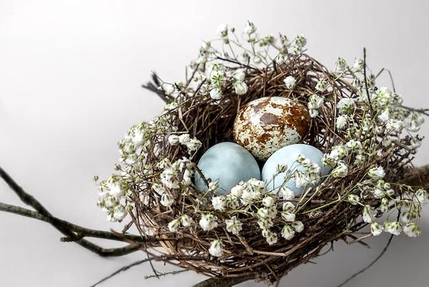 Vogelnest met gekleurde eieren versierd met witte bloemen hangt aan boomtakken.