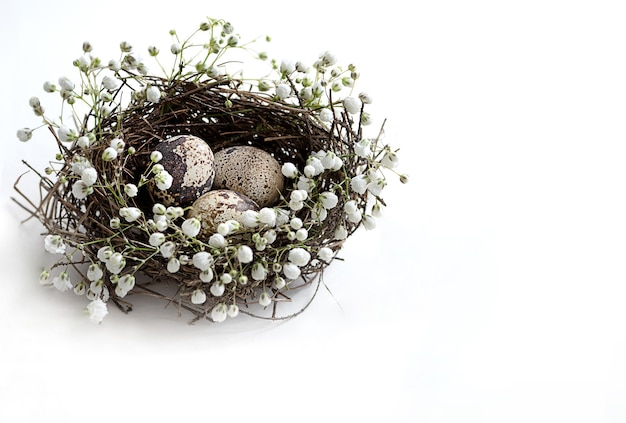 Vogelnestje met drie kleine gevlekte eieren versierd met witte bloemen.