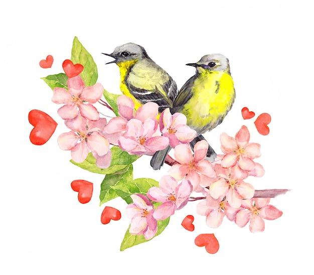 Vogels op bloesemtak met bloemen. waterverf