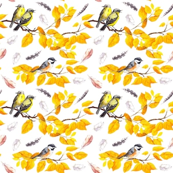 Vogels op herfsttakken met abctract gele bladeren, vallende veren. decoratief naadloos patroon. water kleur