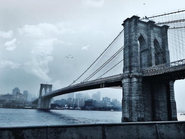 Vogels vliegen over de brooklyn bridge in new york city, verenigde staten
