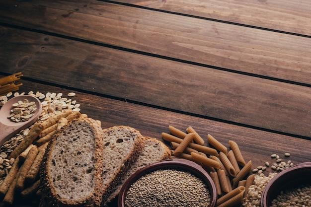 Volkoren voedsel, met een hoog vezelgehalte