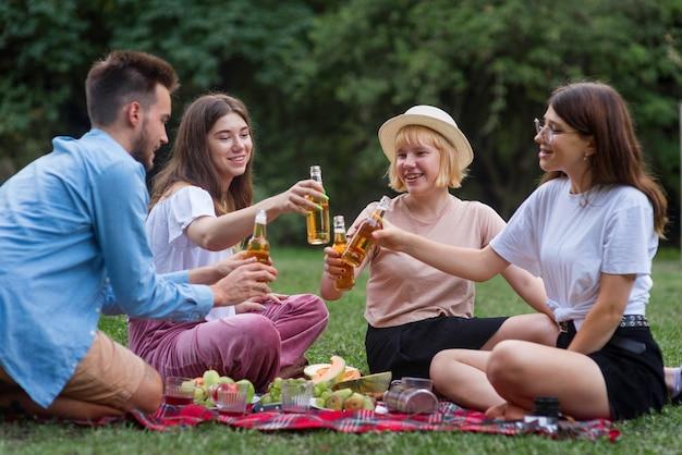 Volle vrienden die bij picknick roosteren
