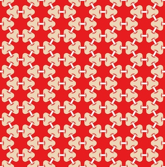 Volledig frame geïllustreerd naadloos patroon van verbonden kettingschakels op rode achtergrond