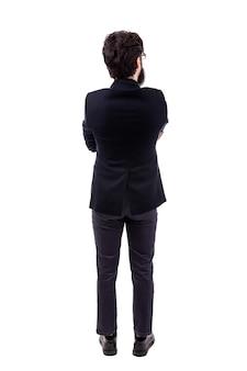 Volledig lengteportret van bebaarde zakenman, achteraanzicht, dat op witte achtergrond wordt geïsoleerd
