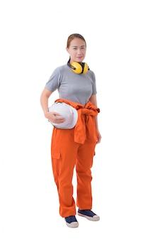 Volledig lichaamsportret van een vrouwenarbeider in mechanische jumpsuit