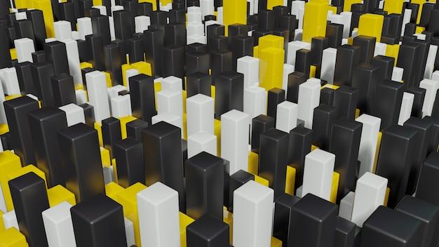 Volledige kleurenvierkanten geëxtrudeerde abstracte 3d stadsgezicht