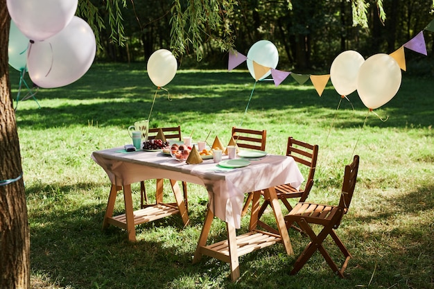 Volledige lengte achtergrondafbeelding van zomer picknicktafel buiten versierd met ballonnen voor verjaardag pa...
