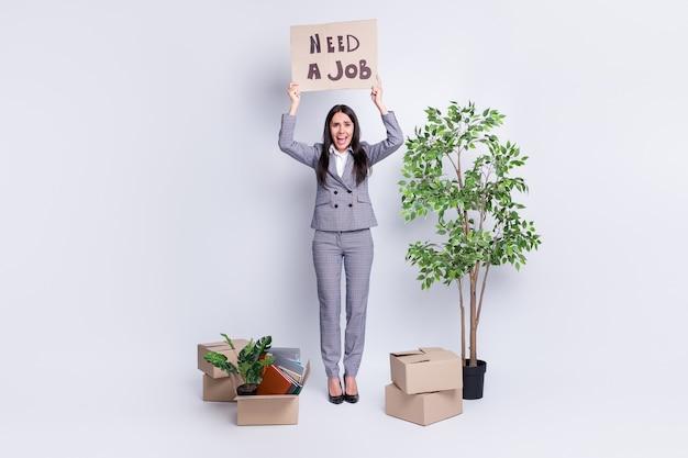 Volledige lengte lichaamsgrootte weergave van haar mooie, ellendige, gekke ontslagen zakenvrouw met papieren kaart die zegt dat ze een baan nodig heeft menselijke bezetting vind vacature geïsoleerde grijze pastelkleurige achtergrond