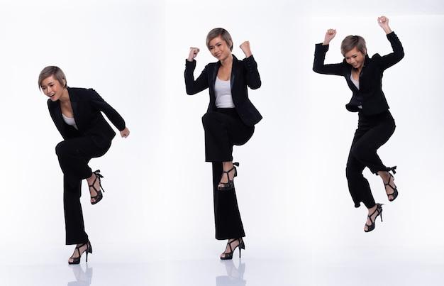 Volledige lengte snap figuur, aziatische zakenvrouw draagt zwart pak, ze 20s heeft stervende grijze kleur kort haar en handelt veel poses springen blije glimlach, studio verlichting witte achtergrond geïsoleerde collage groep