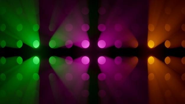 Volumetrische kleurrijke lichtstralen op rookachtergrond