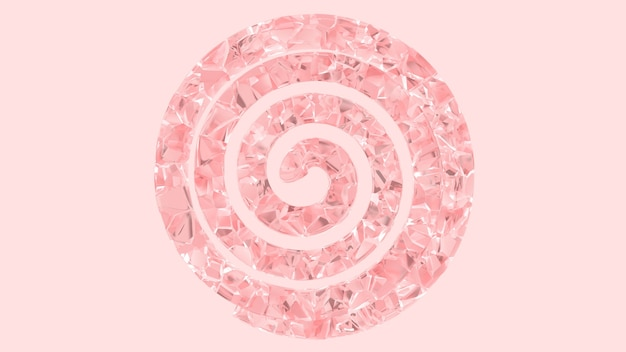 Volumetrische spiraal gemaakt van roze glas 3d render