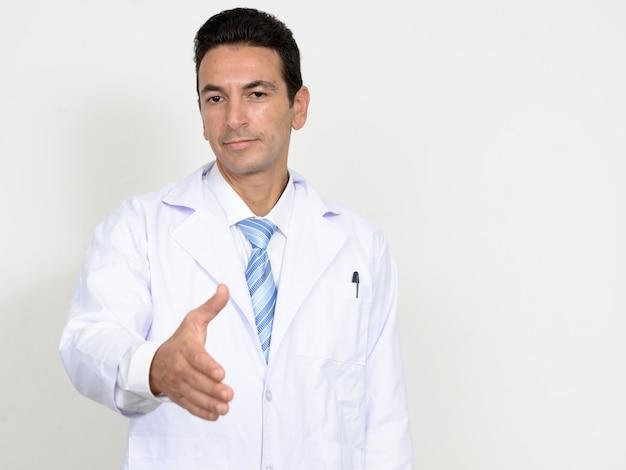 Volwassen knappe man arts geïsoleerd
